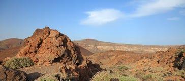 火山沙漠的全景 免版税库存图片