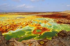 火山活动的dalol 库存图片