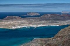 火山海岛,鸟瞰图,兰萨罗特岛 免版税库存照片