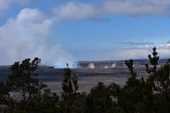 火山火山口看法在大岛夏威夷的 免版税库存图片