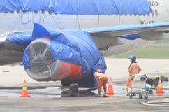 从火山灰的清洁机场 库存图片