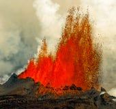 火山爆发在Holuhraun冰岛(2014) 免版税库存图片