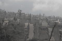 火山爆发损伤补救 免版税库存照片