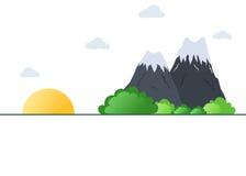 火山的山和朝阳landscpae 皇族释放例证