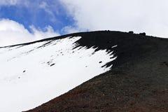 火山的山形成 埃特纳火山多雪的风景  黑白口气 库存照片