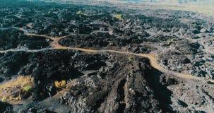 火山的岩石风景鸟瞰图在巴厘岛 影视素材