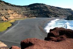 火山的海滩 免版税图库摄影