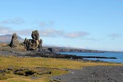 火山的海滩在西部冰岛。 免版税库存照片