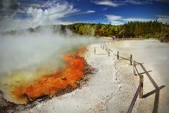 火山的湖,罗托路亚,新西兰 库存图片