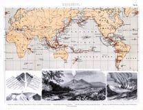 1874火山的火光环的古色古香的地图和火山竞争 图库摄影