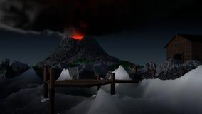 火山的码头 免版税库存图片