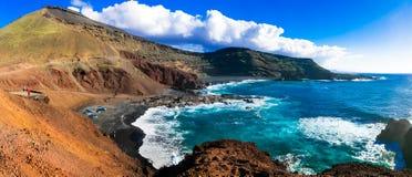 火山的美丽的兰萨罗特岛的独特的本质 加那利群岛tenerife 免版税库存图片