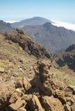 火山的风景在拉帕尔玛岛 caldera de taburiente 西班牙 图库摄影