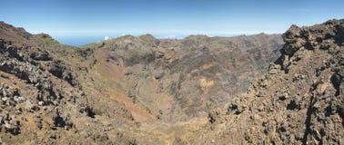 火山的风景在拉帕尔玛岛 caldera de taburiente 西班牙 库存图片