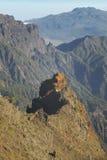 火山的风景在拉帕尔玛岛 caldera de taburiente 西班牙 库存照片