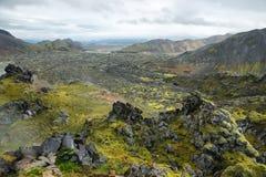 火山的风景在Landmannalaugar, 免版税库存照片