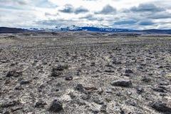 火山的风景-石头和灰荒原 库存照片