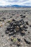 火山的风景-石头和灰荒原 免版税库存图片