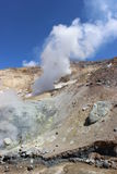 火山穆特洛夫斯基火山堪察加的白色喷气孔 图库摄影