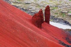 火山红色Raudholar 免版税库存图片
