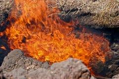 火山运动在Timanfaya国家公园 库存照片