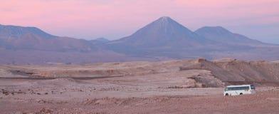 火山阿塔卡马智利公共汽车桃红色紫色 库存图片