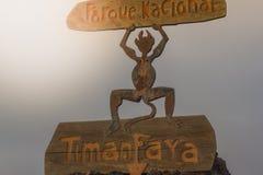 火山,在Parque Nacional de Timanfaya,在兰萨罗特岛,西班牙 免版税库存照片