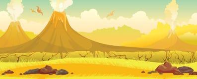 火山,草,翼手龙-史前自然风景 皇族释放例证