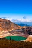 火山登上皂市,日本Crater湖  库存照片