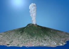 火山维苏威爆发的卫星看法 免版税库存图片