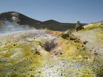 火山Etna的火山口 图库摄影