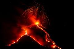 火山etna的爆发在西西里岛 图库摄影