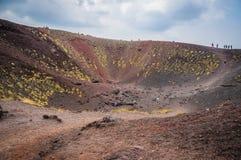 火山Etna视图Silvestri火山口 免版税库存照片