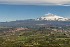火山Etna,西西里岛,意大利鸟瞰图  图库摄影