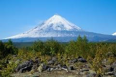 火山Klyuchevskaya小山 (4800m) 库存照片
