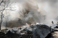 火常见的kolkata贫民窟 免版税图库摄影