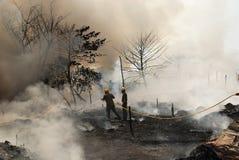 火常见的kolkata贫民窟 免版税库存图片