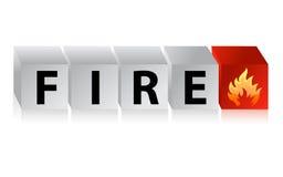 火按钮立方体文本 免版税库存图片