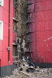 火损坏的一部分的大厦 库存图片