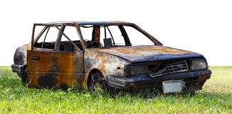 火损坏的交谊厅汽车 库存图片