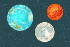 火星地球和月亮,太阳系的行星 免版税库存照片