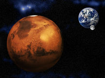 火星地球月亮 皇族释放例证