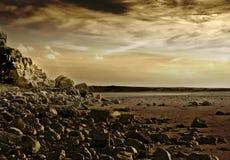 火星的日落 免版税库存图片