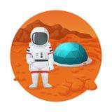 火星的殖民化 做赞许姿态的宇航员站立在毁损有防护圆顶的表面近的解决 皇族释放例证