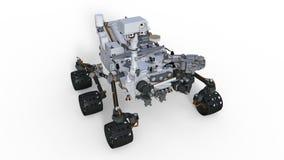 火星车,在白色背景隔绝的机器人空间机动车, 3D例证 库存照片