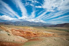 火星风景在克孜勒奇恩角,阿尔泰,俄罗斯 库存照片