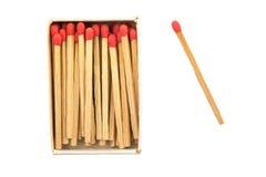 火查出轻的火柴盒符合启动硫磺 库存照片