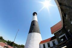 火海岛灯塔的白点视图 库存图片