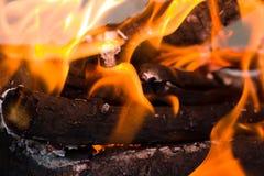 火火焰从木炭的作为背景 免版税库存图片
