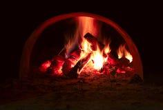 火火焰在烤箱的 库存图片